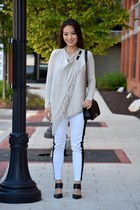 beige fringe INC top - black boy Chanel bag - white skinny Rock & Republic pants