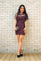 black studded clutch Handbag Heaven bag - maroon cage Trixxi dress