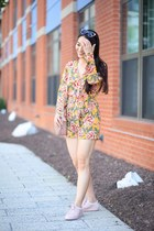 coral Gucci bag - mustard floral asos romper - pink leather KOIO sneakers