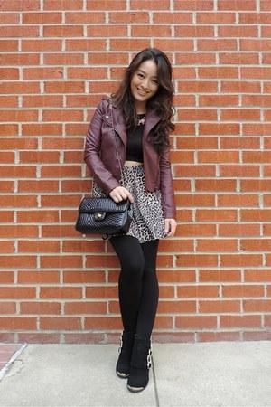 black deb skirt - black deb boots - brick red Aeropostale jacket