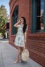 White-floral-mini-chicwish-dress-tan-straw-tote-beachd-bag