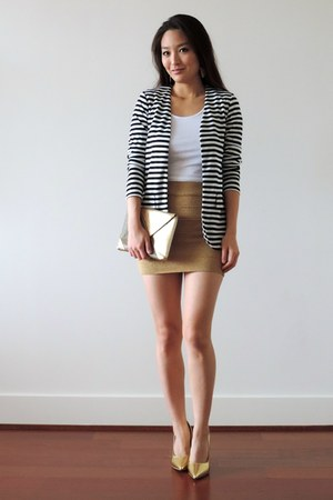 gold bandage mini Kash skirt - navy striped Tobi blazer - gold deb heels