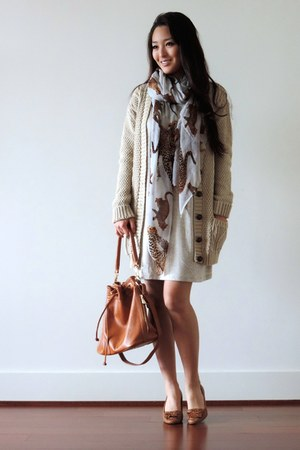tan printed Charlotte Russe scarf - tan Shes So Moxie dress