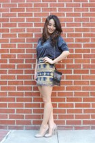 mustard body con aztec SaVous skirt - black vintage bag