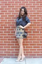 mustard body con aztec SaVous skirt - black vintage bag