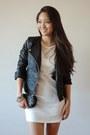 White-oasap-dress-black-moto-boohoo-jacket