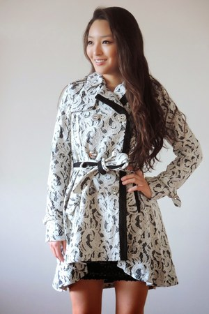 black sequin lbd deb dress - white lace trench Spiegel coat