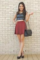 maroon Forever 21 skirt - black Chanel bag - black Candies heels