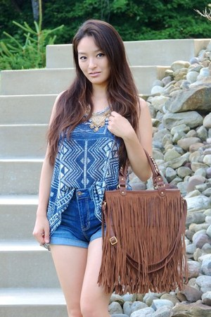 brown fringe Charlotte Russe bag - navy high-waisted Aeropostale shorts