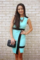 aquamarine bodycon deb dress - black crossbody deb bag