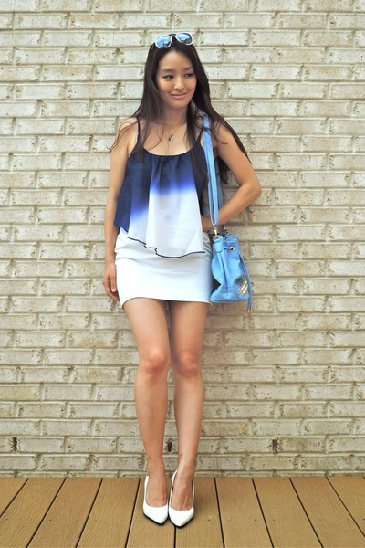 blue ombre crop Deb Shops top - sky blue PurseMafia bag