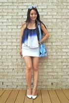 blue ombre crop Deb Shops top - sky blue PurseMafia bag