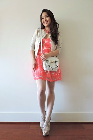 hot pink deb dress - off white polka dot Chicwish tights - ivory LucyMint bag