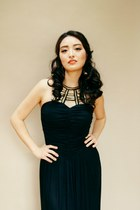 black evening AmiClubWear dress - black statement J Wholesale earrings