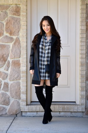 black thigh-high stuart weitzman boots - black Donna Degnan jacket