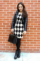 eggshell checkered OASAP dress - black platform asos boots