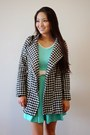Aquamarine-a-line-bow-the-shopping-bag-dress-black-houndstooth-oasap-coat