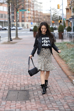 light brown BCBG skirt - black Two Perfect Souls boots - black boy Chanel bag