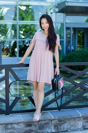 light pink shift Almost Famous dress - light pink slip on AmiClubWear shoes