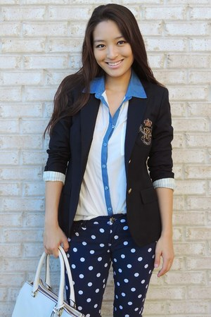 navy polka dot Our World Boutique pants - navy prep school Ralph Lauren blazer