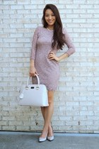 puce lace bodycon deb dress - beige pauls boutique bag