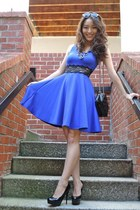 blue deb dress - black kate spade bag - white striped Aeropostale sunglasses