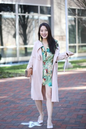 lime green floral mini Pretty Little Thing dress - light pink All Saints jacket