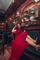 ruby red long BCBG dress