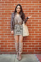 tan suede Sole Society boots - dark brown deb jacket - beige oversized Prada bag