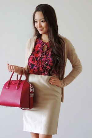 tan banana republic cardigan - hot pink Givenchy bag - beige Nine West pumps