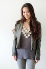 Silver-skinny-vince-jeans-heather-gray-distressed-moto-rd-style-jacket