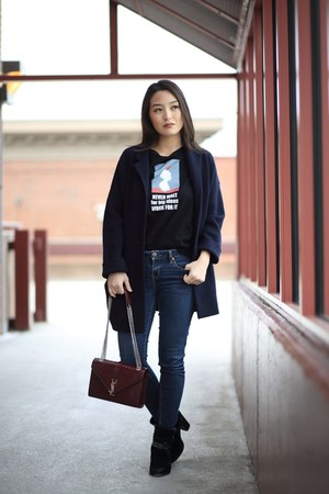 navy madewell coat - black graphic Zara t-shirt