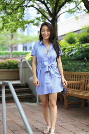 sky blue striped Forever 21 dress - silver slides Zara sandals
