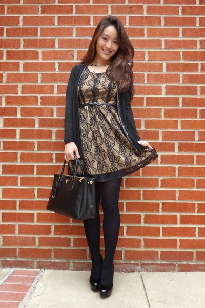 black AmiClubWear dress - black saffiano Prada bag
