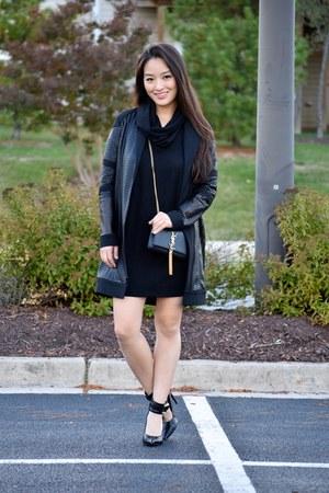 black turtleneck Old Navy dress - black Donna Degnan coat - black YSL bag