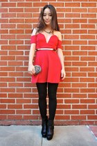 red v-cut skater Charlotte Russe dress - black platform asos boots