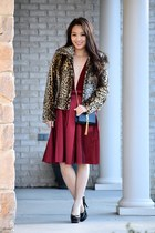 maroon Charlotte Russe skirt - black crossbody YSL bag
