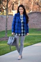 navy plaid pea Old Navy coat - heather gray skinny Theory jeans