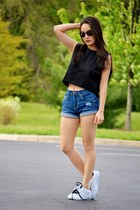 white Danice sneakers - navy high-waisted Aeropostale shorts