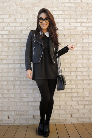 black ankle Apt 9 boots - black PERSUNMALL dress - black moto H&M jacket