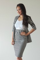 black striped Tobi blazer - white crop Charlotte Russe top