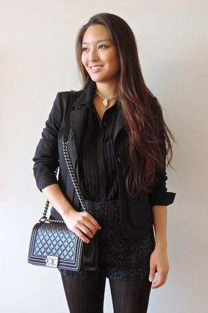 black Hugo Boss blazer - black talbots tights - black boy Chanel bag