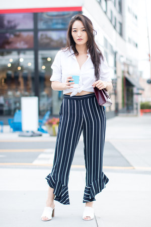 white button front Polo Factory Outlet top - navy striped frill asos pants