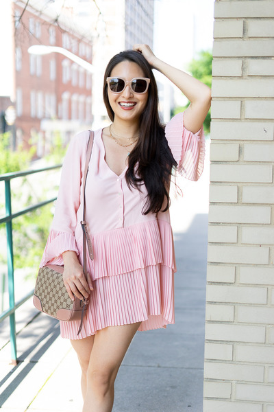 light pink Gucci bag - light pink tory burch sunglasses