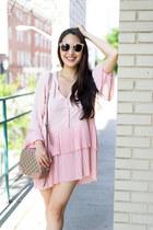 light pink Gucci bag - light pink tory burch sunglasses