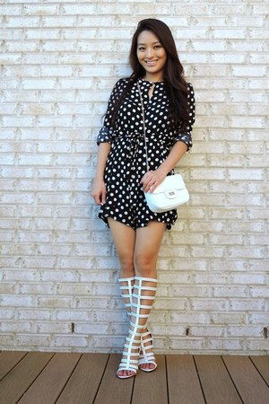 black polka dot Yesforcom romper - ivory deb bag - white ami clubwear sandals