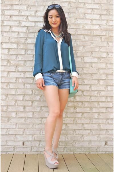 blue cream trim Forever 21 blouse - aquamarine crossbody kate spade bag