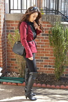 black over-the-knee Guess boots - maroon tuxedo Ustrendy blazer