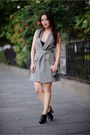 Charcoal-gray-blazer-asos-dress-black-peep-toe-aldo-heels