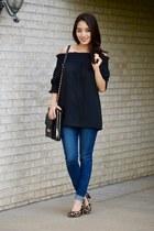 black tablet tote Sandy Lisa Bags bag - navy skinny Levis jeans